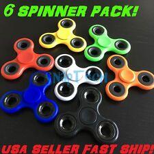 6 Pack Various Color Tri-Spinner Fidget Toy EDC Hand Finger Spinner Desk Focus