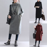 ZANZEA Women Turtleneck Long Shirt Dress Plain Sweatshirt Dress Midi Dress Plus