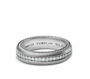 David Yurman Streamline One Row Ring Band in Grey Titanium w/ Diamonds 10