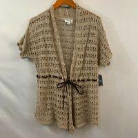 St Johns Bay Womens Beige Open Knit Crochet Belt Cardigan Sweater Size Medium