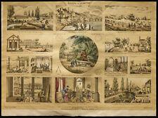 Rare 1853ca - La géométrie - Planche encyclopédique, scolaire, affiche, estampe