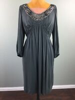 Max Studio Specialty Products Womens Dress Beaded Gray Smocked Stretch Size L