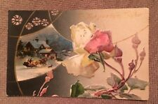 HAPPY NEW YEAR 1908 Post Card With Ben Franklin $.01 Stamp; Printed In Germany