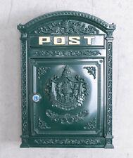 métal boîte aux lettres murale en fonte shabby chic vert avec la clé poste box