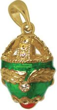 Faberge Egg Pendant / Charm with crystals 2.6 cm green #6101-08