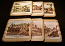 Lot of 6 Pimpernel Coasters with Cork Bottoms/ English Villages
