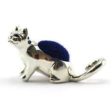 EDWARDIAN STYLE MINIATURE CAT PIN CUSHION VELVET STERLING SILVER 925