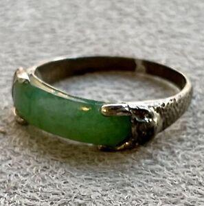 Antique Chinese Saddle Jadeite Jade Silver Ring