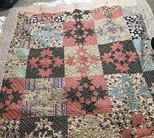Antique Hand Stitched Reversible Sawtooth And  Stars Quilt Hygge coverlet