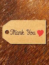 10 Small Kraft THANK YOU RED HEART Luggage FAVOUR TAGS Wedding Gift Label Party