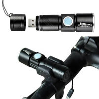 USB Rechargeable LED MTB Bike Bicycle Cycle Head Front Light Lamp KY