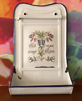 "Antique German Enamelware Kitchen Utensil Holder ~ 20 1/4"" ~ Circa 1920's"