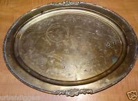 12796/ Vintage Antique Ornate Brass Oval Serving Tray ~ Filagree