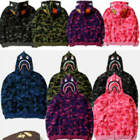 Popular Ape BAPE Men's Shark Jaw Camo Full Zipper Hoodie Sweats Coat Jacket XL