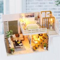 DIY Miniature Wooden Dollhouse Kids Handcraft Assembled Toy Doll Modern Villa Nv