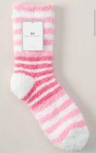 KN Karen Neuburger Pink Color Block Striped Cozy Slipper Socks