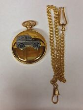 Land Rover Series 1 SWB ref112 pewter effect emblem gold quartz pocket watch