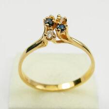 Round Diamonds Sapphire Gemstone Cluster Dress Ring Genuine 750 18k Yellow Gold