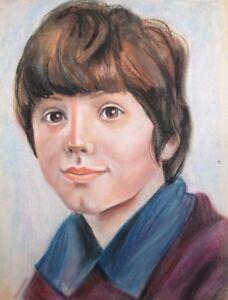 Vintage pastel drawing boy portrait