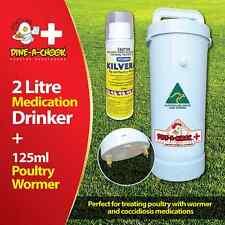 Dine a Chook 2 Litre Medication Chicken Drinker + 125ml Kilverm Poultry Wormer