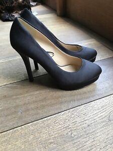 H&M Ladies Black Platform High Heel Shoes Size UK 5 EU 38 Satin VGC