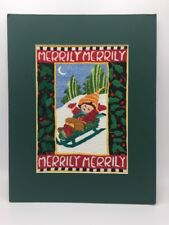 "MARY ENGELBREIT Completed Cross Stitch Picture MERRILY MERRILY 11"" X 14"" Matted"