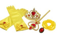 Pretty Princess Belle Yellow Dress up Party Accessories 4 Set Gloves Tiara Wand