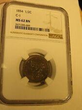 US 1854 1/2 Cent, C-1, NGC MS 62 BN