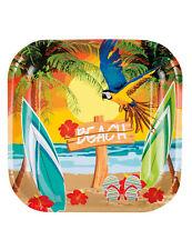 Karibik-Servierplatten Hawaiiparty-Deko 6 Stück bunt 23x23cm - Cod.267026