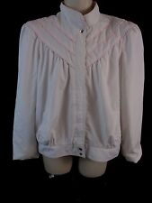 New York Girl Womens Large White Pink Zip Front Long Sleeve Lined Jacket CB43U