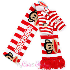 Paul Frank Red Striped Long Scarf with Gloves Set by Loungefly Muffler