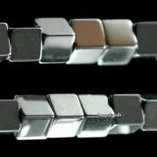 """3MM SILVER HEMATITE GEMSTONE SILVER PERFECT SQUARE CUBE 3MM LOOSE BEADS 7.5"""""""