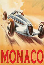 VINTAGE Auto da Corsa-GRAN PREMIO DI MONACO DECO A3 Stampa Artistica Poster