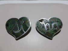 RARE LOS BALLESTEROS STERLING SILVER CRUSHED TURQUOISE HEART BROOCH PIN SET LOT