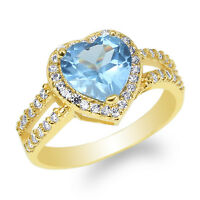 JamesJenny Yellow Gold Plated 1.8ct Heart Blue Topaz CZ Halo Beautiful Ring 4-10