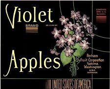RARE OLD YAKIMA APPLE LABEL BEAUTY - PURPLE FLOWER - VIOLET BRAND