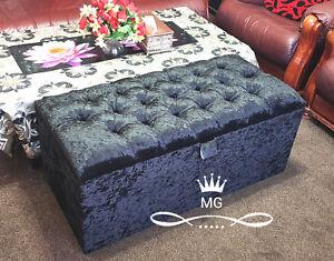 Luxury Chesterfield Ottoman Storage Box - Black Crushed Velvet Diamante Design