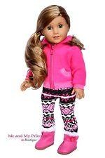 "FLEECE JACKET + FAIR ISLE LEGGINGS + BOOTS for 18"" American Girl Doll clothes"