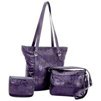 Black 3 Piece Leather Shoulder & Cosmetic Purse Set, Women Satchel Evening Bag