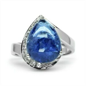 7.05ct Natural Violet Blue Tanzanite Ring With Zircon in 925 Sterling Silver