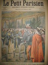 MARSEILLE M. FALLIERES OFFICIERS ETRANGERS SCHLUSSELBOURG LE PETIT PARISIEN 1906