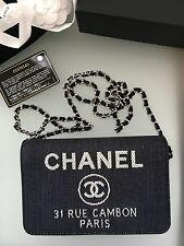 Chanel 31 Rue Cambon Denim Wallet On Chain New