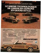 1984 CHRYSLER LeBaron convertible Vintage Original Print AD Woodie car Montalban