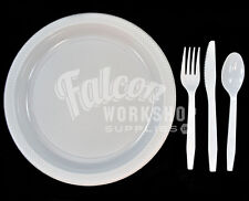 Plastic Disposable Strong Cutlery Spoon Fork Knife Plate Catering Party Weddings