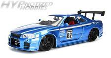 JADA 1:24 METALS 2002 NISSAN SKYLINE GT-R DIE-CAST BLUE 99117 N/B