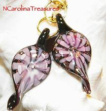 MURANO GLASS CEILING FAN SWITCH PULL LEAF DESIGN PURPLE FLORAL BURST SMALL PAIR