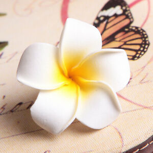 "10/20Pcs Hawaiian Foam Plumeria Flower Hair Clips 3.5"" for Bridal Wedding Party"