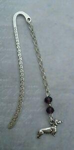 Tibetan Silver Bookmark SAUSAGE DOG Purple Beads. DOG PUPPY PET DACHSHUND. GIFT.