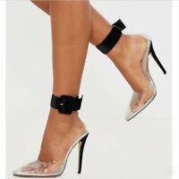 Women High Stilettos Heel PVC Clear Pumps Buckle Strap Pointy Toe Court Shoes US