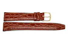 TIMEX 18MM BROWN CROCO STITCHED CLIK-ON GENUINE LEATHER WATCH BAND STRAP